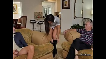 xxx phatos woman old Blowjob and bang in front of tv set