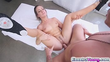 a suitcase spinner in Alexis grace secret agent footjob