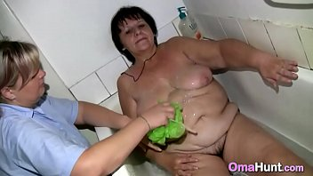 hips granny naked wide Japanese husband has to watch