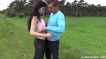 stormy outdoor brunette Quick cum son